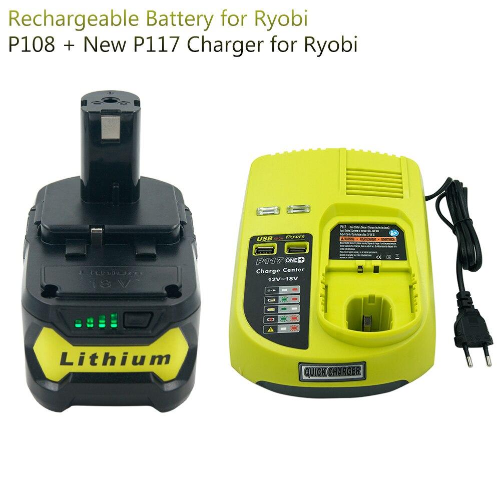 18 в 5000 мА/ч, RB18L50 литий Перезаряжаемые Батарея для Ryobi P104 P105 P102 P103 P107 P109 P108 + P117 Зарядное устройство для Ryobi 9,6 в 18 в Перезаряжаемые батареи      АлиЭкспресс