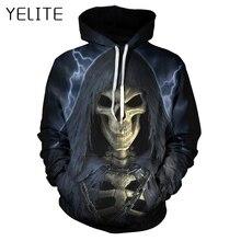 YELITE 2019 Pullover Hooded 3D Printed Funny Hip Hop Hoody Streetwear Men Tops Newest Fashion Cool Skull Hoodies Sweatshirts