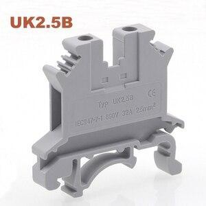 Image 2 - 50pcs Din Rail Screw Terminal Block UK 2.5B 3/5/6/10N Bornier Electric Wire Cable Terminals Connector Copper Morsettiera 14~8AWG