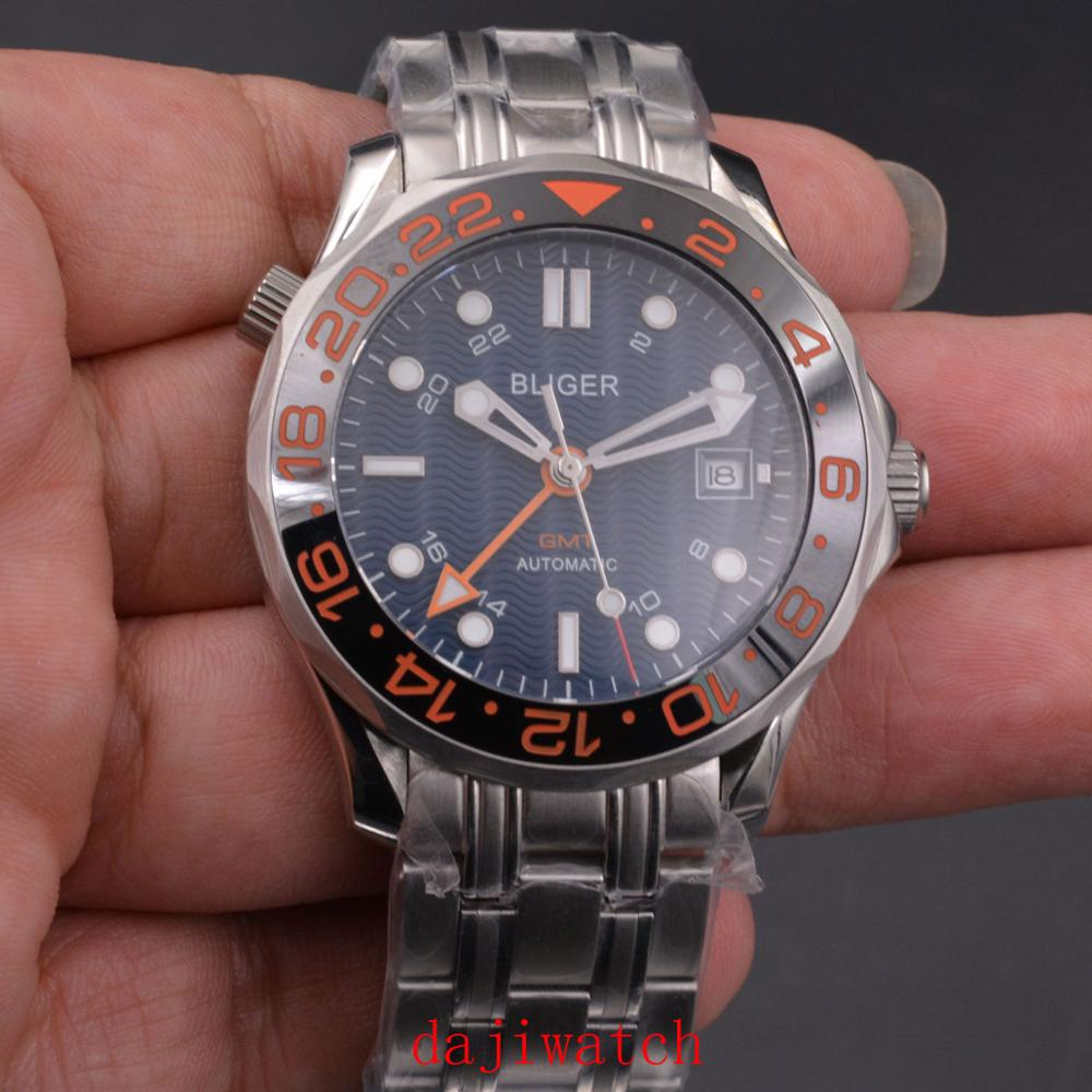 BLIGER automatic mechanical watch, sports and leisure fashion 41 mm blue dial GMT sapphire crystal date