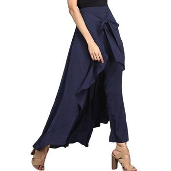 Women Palazzo Pants 2020 Causal Ruffle Drawstring Trouser Elegant High Waist Irregular Loose Pure Color Autumn Female Pant Skirt 5