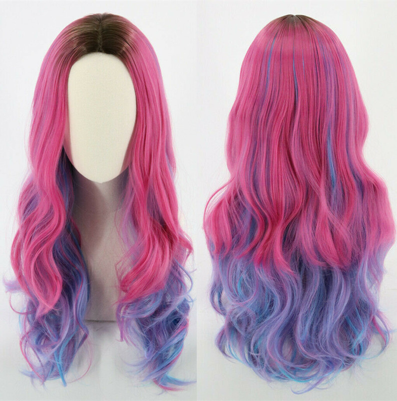 Descendants 3 Women Audrey Wig Pink Mix Blue Long Wavy Synthetic Hair Children Audrey Wig  Princess Christmas Wigs