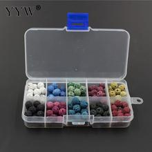 Natural Stone Lava Beads Accessories For Jewelry Needlework Making Perlen Round Mixed 8mm Hole 1mm 150pcs/Box