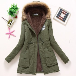 Image 3 - new winter military coats women cotton wadded hooded jacket medium long casual parka thickness plus size XXXL quilt snow outwear