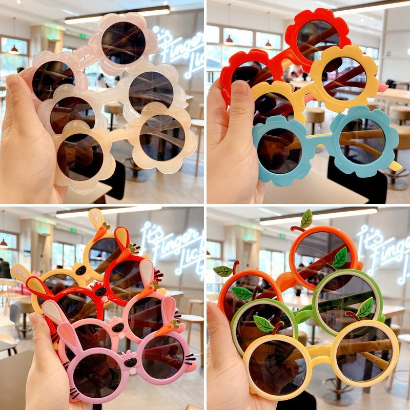 Raindo 2021 Children Cute Cartoon Flower Heart Sunglasses Kids Round Glasses Baby Fashion Colors Sunglasses Boys Girls Eyewear|Girl's Sunglasses| - AliExpress