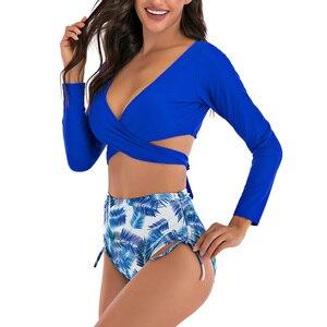 Image 2 - Riseado maillot de bain Sexy, culotte taille haute, portefeuille croisé, manches longues, imprimé feuilles, vêtements pour la plage, maillots de bain femmes