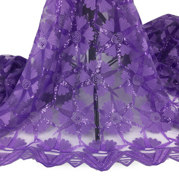 African Lace Fabric Embroidered Bead Sequins Nigerian Laces 2020 High Quality Purple French Tulle Lace Fabric f200408