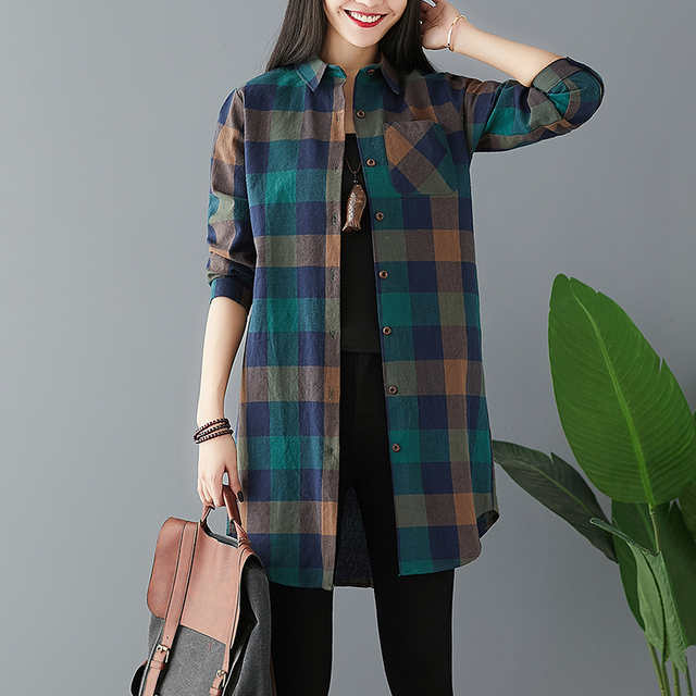 #0447 Spring Long Sleeve Shirts Women Plus Size Casual Loose Cotton Linen Shirt Female Summer Plaid Tops Blouse Vintage Retro 1