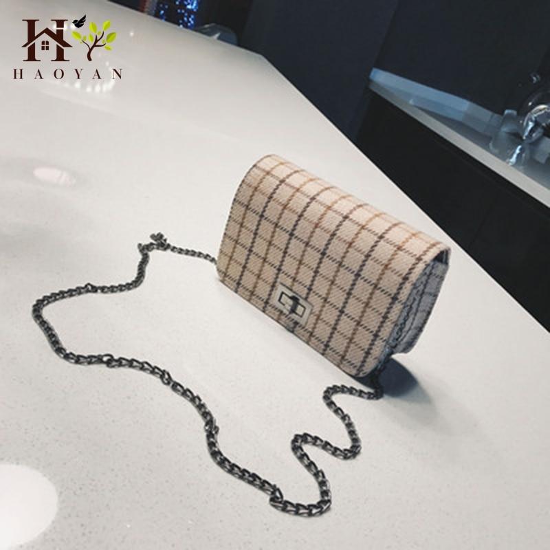 Square Bag Shoulder-Messenger-Bag Small Fashion Plaid HAOYAN Wild Simple New