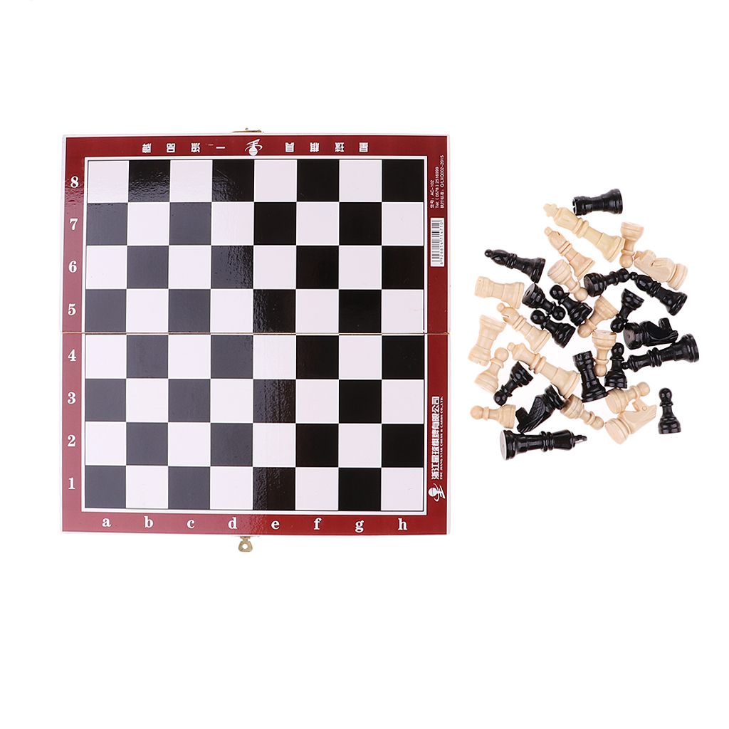 Wooden International Chess Portable Chess Folding Chess Chessboard Game Set