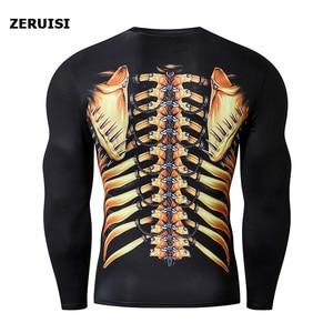 Image 4 - חדש הגעה 3D מודפס T חולצות גברים דחיסת חולצה תחפושת ארוך שרוול צמרות עבור זכר כושר היפ הופ בגדים