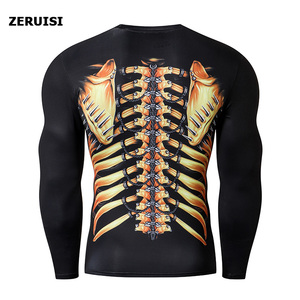 Image 4 - New Arrival 3D Printed T shirts Men Compression Shirt Costume Long Sleeve Tops For Male Fitness Hip hop Clothing