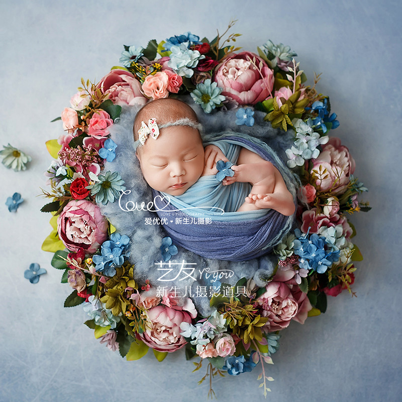 Newborn Photography Props 50cm Artificial Flower Wreath Baby Props For Photoshoot Fotografia Accessories Wedding Door Decoration