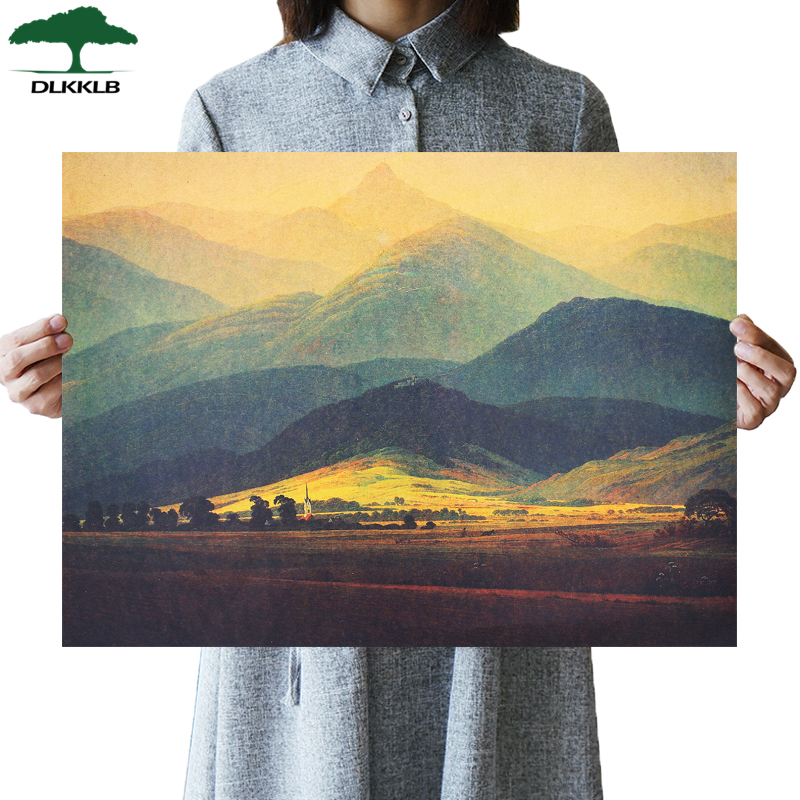 DLKKLB Art Posters Giant Mountain World Famous Painting Vintage Romanticism Home Coffee Shop Wall Sticker Decorative Painting image