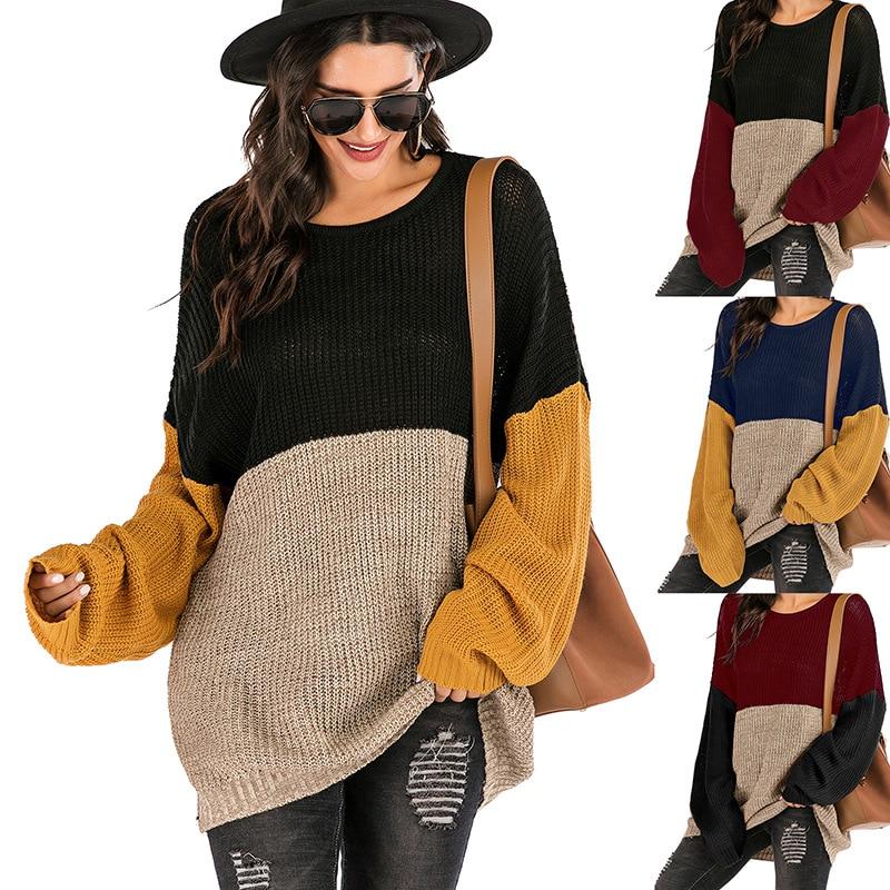 Тонкий свитер большого размера, Женская свободная весенняя одежда для женщин, длинный вязаный пуловер с цветным блоком и круглым вырезом, д...