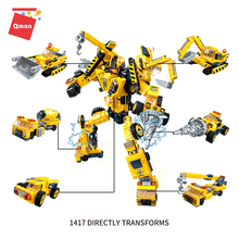QMAN City Engineering excavator drill car Deformation Robot Model Building Blocks sets DIY educational Toys for children Gifts 804pcs cogo city buiding construction series engineering assembe building blocks educational diy model toys best gifts for kid
