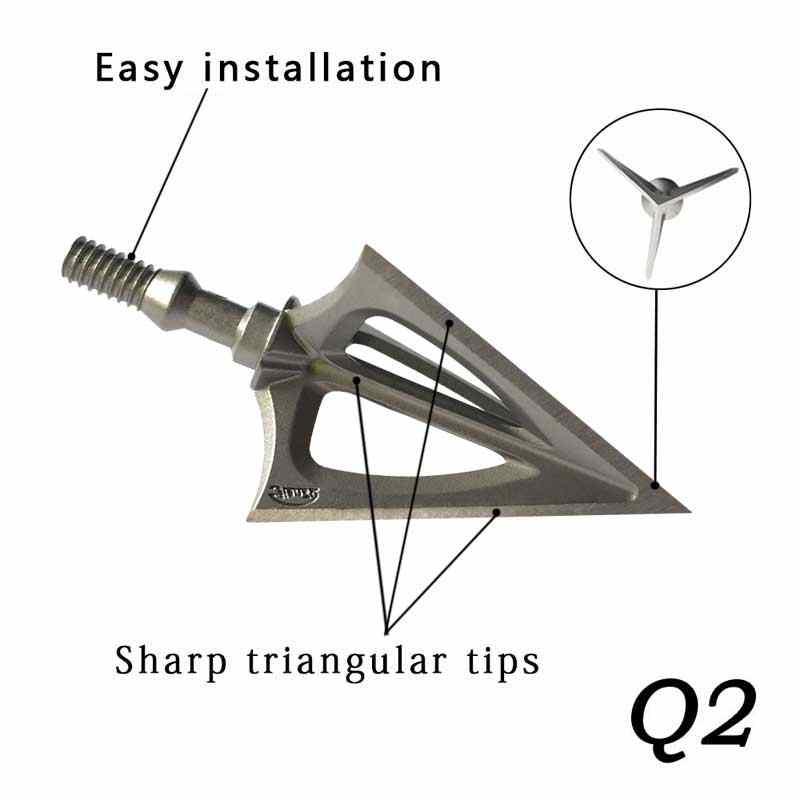 Tête de flèche fixe en alliage inoxydable, 6/12 pièces, 100Grain, pointe large, pointe de flèche 3 lames, pour la chasse