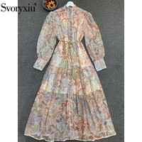 Svoryxiu 2020 Runway Designer Spring Summer Long Sleeve Maxi Dress Women's Single Breasted Bohemian Print Long Dress Vestdios