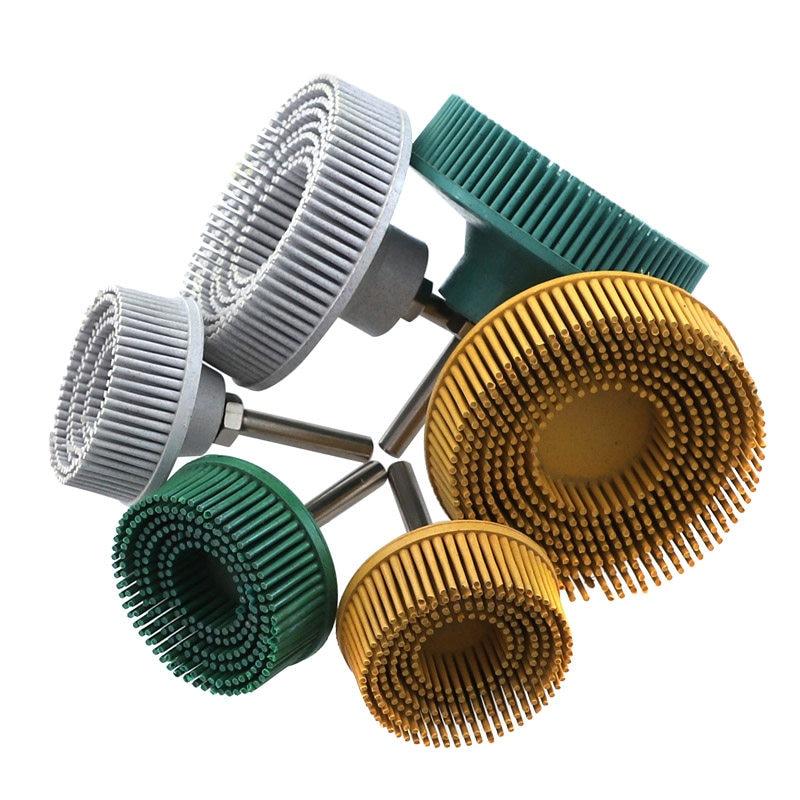 Green 50# 3 Inch Bristle Disc Emery Rubber Detail Abrasive Brush Deburring Polishing Grinding Wheel Jewelry Wood Metal Polishing