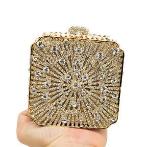 Image 5 - Boutique De FGG Dazzling Crystal Women Evening Box Clutch Bag Wedding Bridal Minaudiere Handbags and Purses Ladies Party Clutch