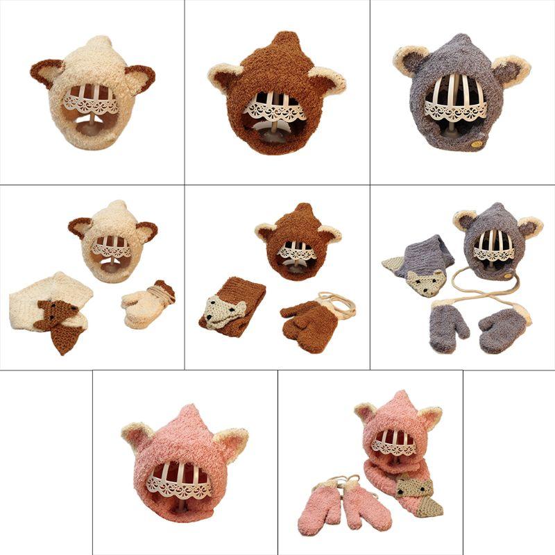 3 In 1 Toddler Kids Thicken Plush Beanie Cap Scarf Gloves Set Cute Cartoon Fox Animal Earflap Hat Winter Warmer For 5-18M Child