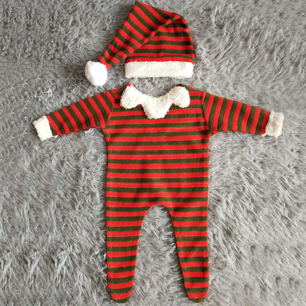 Don & Judy 2019 คริสต์มาสทารกแรกเกิดการถ่ายภาพ Props หมวก + Romper Fotografia อุปกรณ์เสริม Santa Claus สตูดิโอถ่ายภาพ