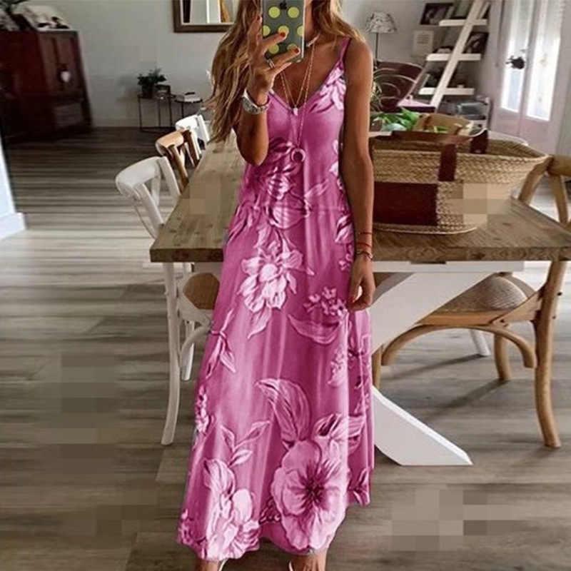 2020 נשים מקרית Loose רצועת שמלה פרחונית קיץ סקסי Boho קשת Camis Befree מקסי שמלה בתוספת גדלים גדול גדול שמלות robe Femme