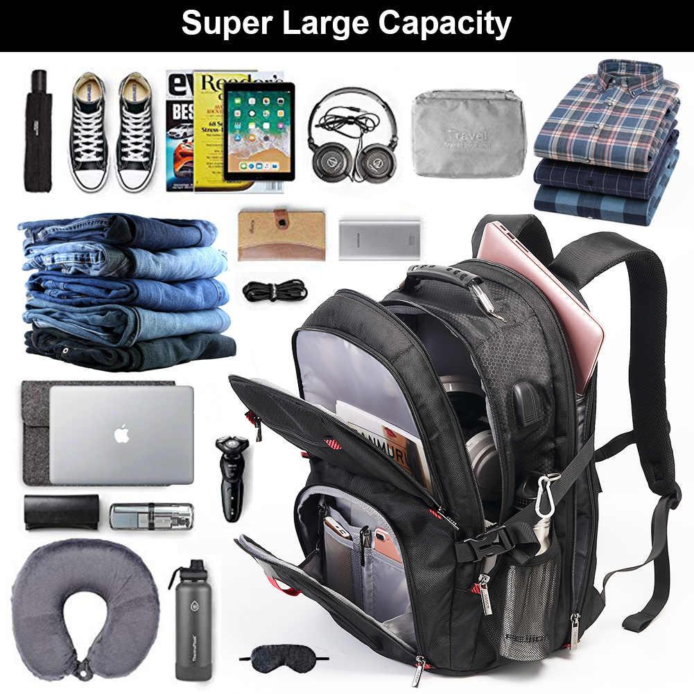 OSOCE حقيبة الظهر 17 بوصة حقيبة لابتوب TSA دائم مقاومة للماء السفر الكمبيوتر حقيبة ظهر خلفية للرجال النساء مع منفذ شحن USB