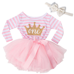 Winter Long Sleeve Baby Stripe Dress Newborn Baby Dresses For Girl Kids Clothes 1 2 3 Years Birthday Outfits Tutu Princess Pink(China)