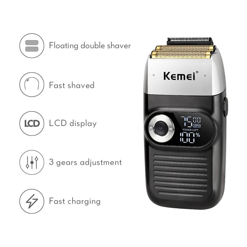 Kemei KM-2026 careca navalha elétrica fine-tuning barba