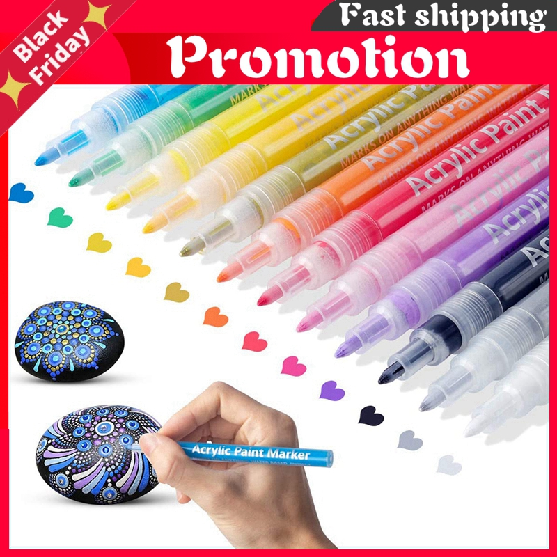 12 Colors Acrylic Paint Markers Set Water-Based Art Marker Pen 0.7-2mm Fine Tip for DIY Craft Canvas Ceramic Glass Wood Stone