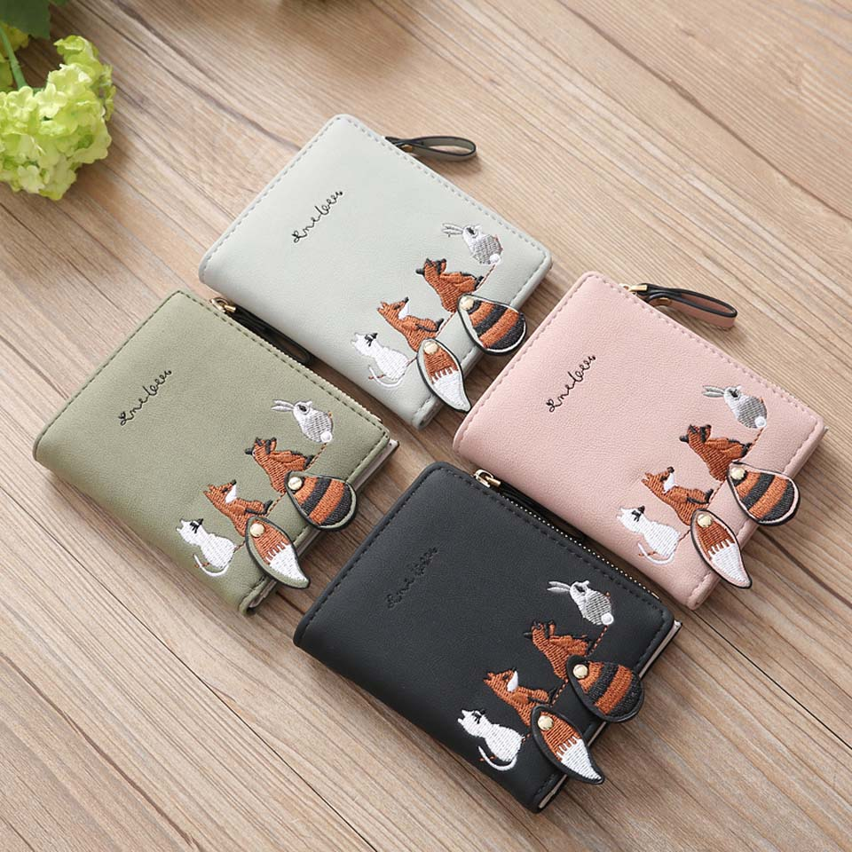 2018 Vintage Wallets Cartoon Animal Fox Candy Colored Girls Coin Bags Women Key Wallets Children Cute Cartoon Mini Coin Purse