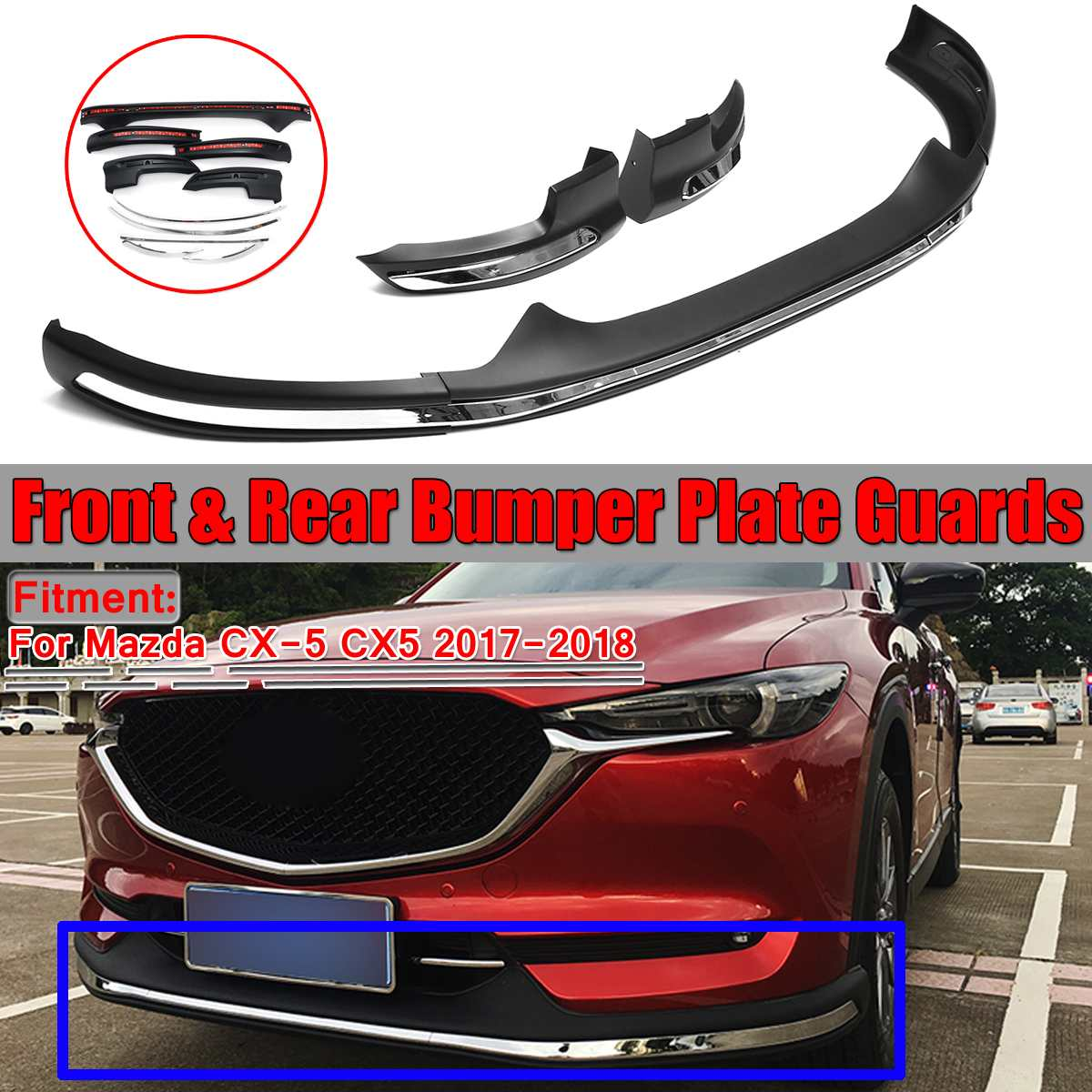 New Car Front Rear <font><b>Bumper</b></font> Board Guard Skid Plate Bar Protector For <font><b>Mazda</b></font> CX-5 <font><b>CX5</b></font> 2017 <font><b>2018</b></font> Silver 2PCS Back + 1 PC Front image