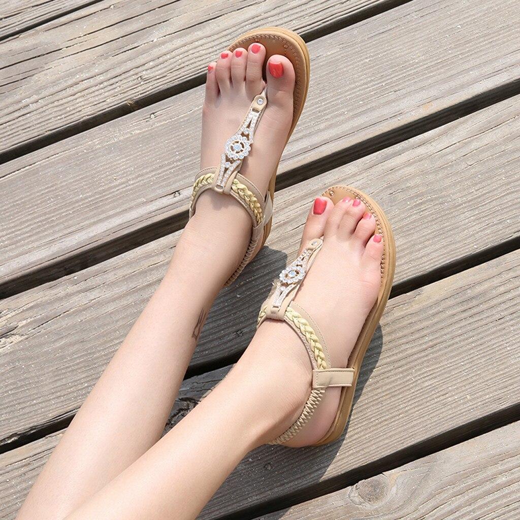 Jaycosin Sandals Female Women Crystal Casual Flat Elastic Band Summer Bohemian Beach Shoes Woman zapatos mujer Plus Size 41 2