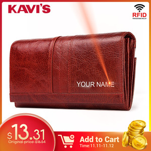 Image 1 - KAVIS Free Engraving Genuine Leather Women Wallet Female Coin Purse Hasp Portomonee Clutch Money Bag Lady Handy Long Girls