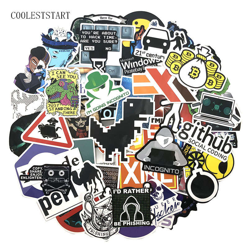 72Pcs/Pack Programmer Graffiti Stickers Hacker Programming Java For Luggage Skateboard Laptop Motorcycle PVC Sticker For Kid