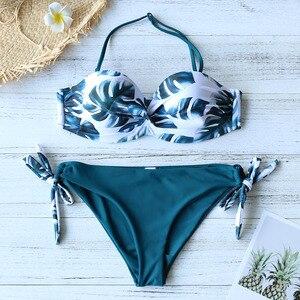 Image 2 - 2020 nouvelles feuilles imprimer Bikini maillot de bain femmes Push Up Bikini ensemble maillot de bain Bandeau maillot de bain brésilien Biquini femme