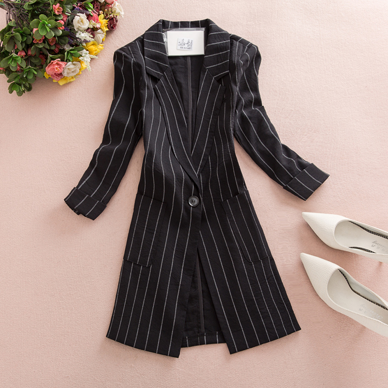 Striped Suit Jacket 2019 New Autumn New Hong Kong Flavor Casual Wild Seven-point Sleeve Small Suit Blazer Plus Size M-3xl