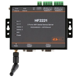 HF2221 2 Ports Wifi Serial Device Server RS232/RS422/RS485 to Ethernet / Wi-Fi Serial Server F22500(EU Plug)