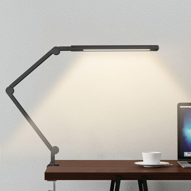 Artpad Stepless Dimmable LED Table Lamp Studying Room Office Adjustable Color Tempatures Black Clip-on Lamp Touch Control 9W
