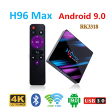 лучшая цена RK3318 android 9.0 box tv h96 max OS set top tv box 4k USB 3.0 smart tv youtube   4 GB RAM 64GB media player google smart box
