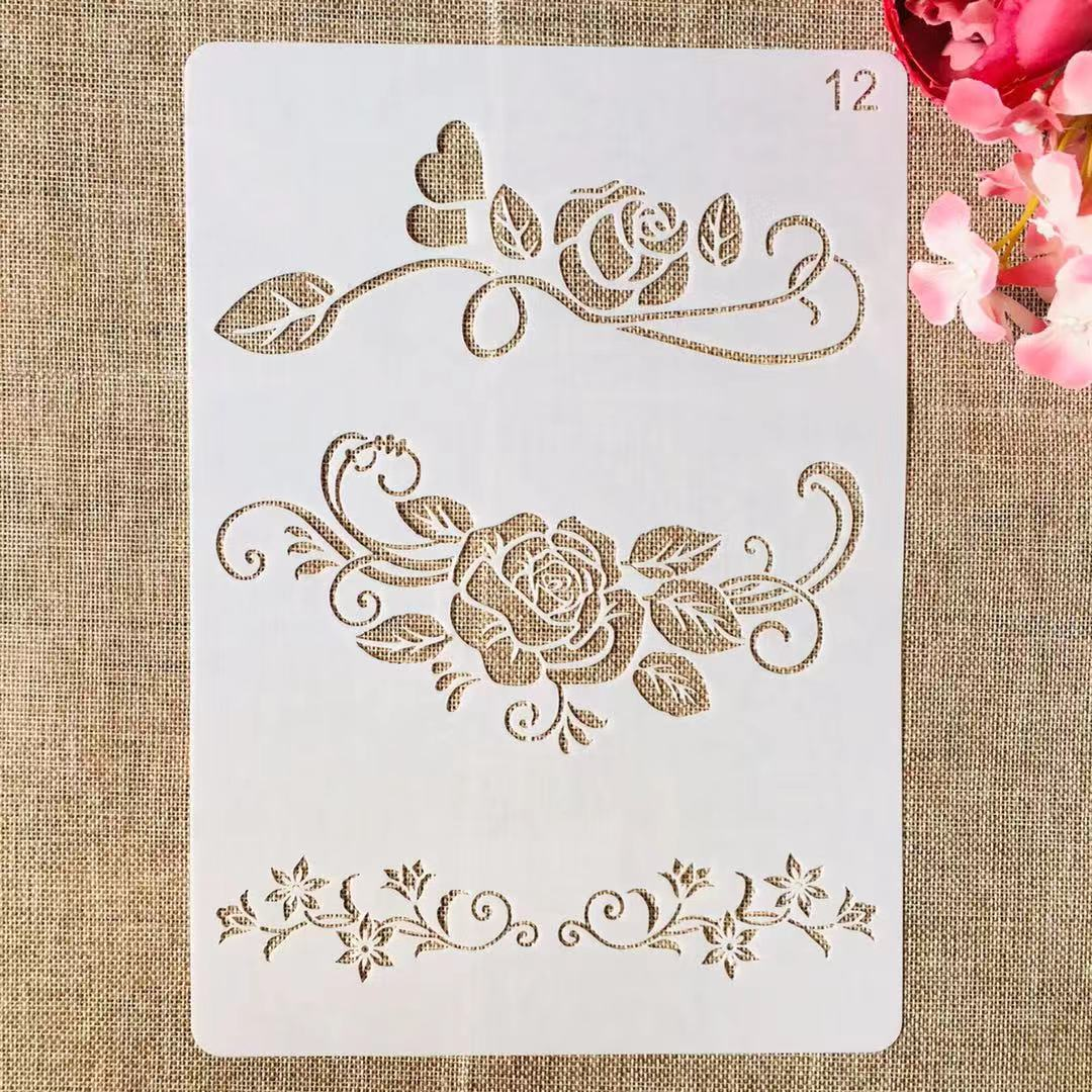 1Pcs A4 29cm Rose Flower  Edge DIY Layering Stencils Painting Scrapbook Coloring Embossing Album Decorative Template