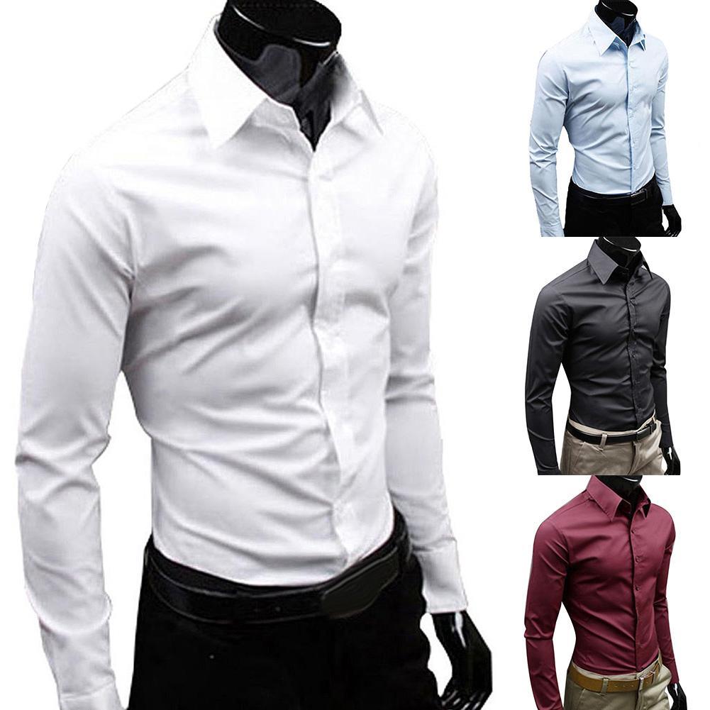 Business Men Solid Color Long Sleeve Button Down Slim Cotton Plus Size Shirt