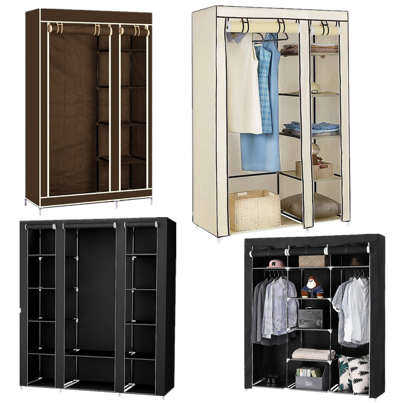 Cloth Wardrobe Furniture Storage Cabinet Fabric Closet Folding Non Woven Portable Waterproof Reinforcement Dustproof Bedroom HWC