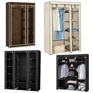 Cloth Wardrobe Furniture Storage Cabinet Fabric Closet Folding Non Woven Portable Waterproof Reinforcement Dustproof Bedroom HWC