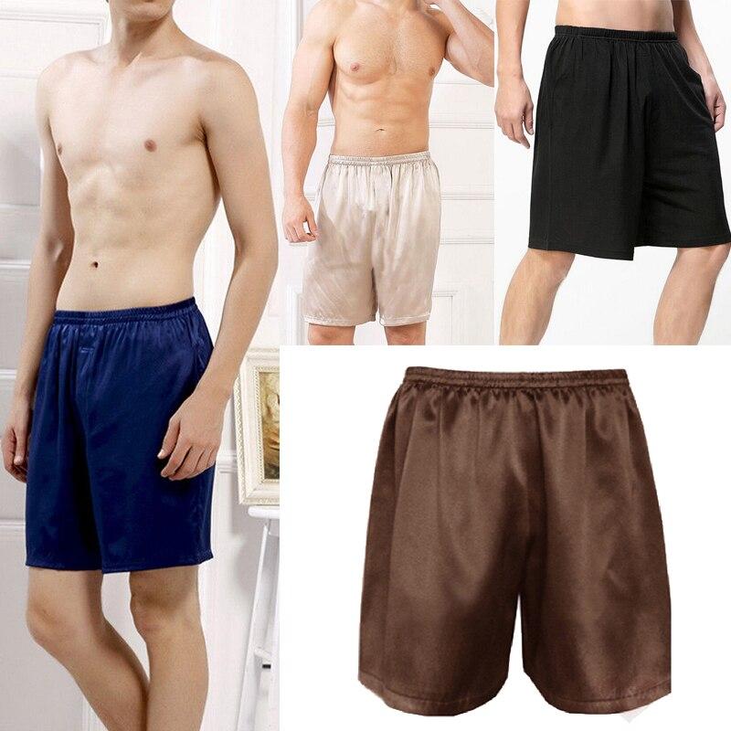 2020 Casual Loose Men's Satin Silk Pijama Shorts Summer Sleepwear Soft Pajama Sexy Nightwear Underpants pyjama