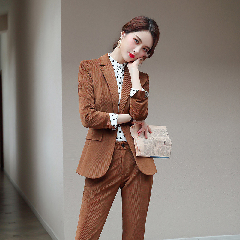 High Quality Business Women's Suit Pants Set Corduroy Retro Slim Large Size Ladies Suit Professional Skirt Suit Female 2019 New