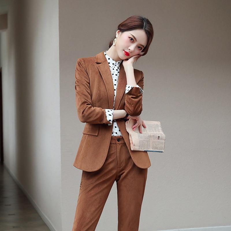 High Quality Business Women's Suit Pants Set Corduroy Retro Slim Large Size Ladies Suit Professional Skirt Suit Female 2019 New