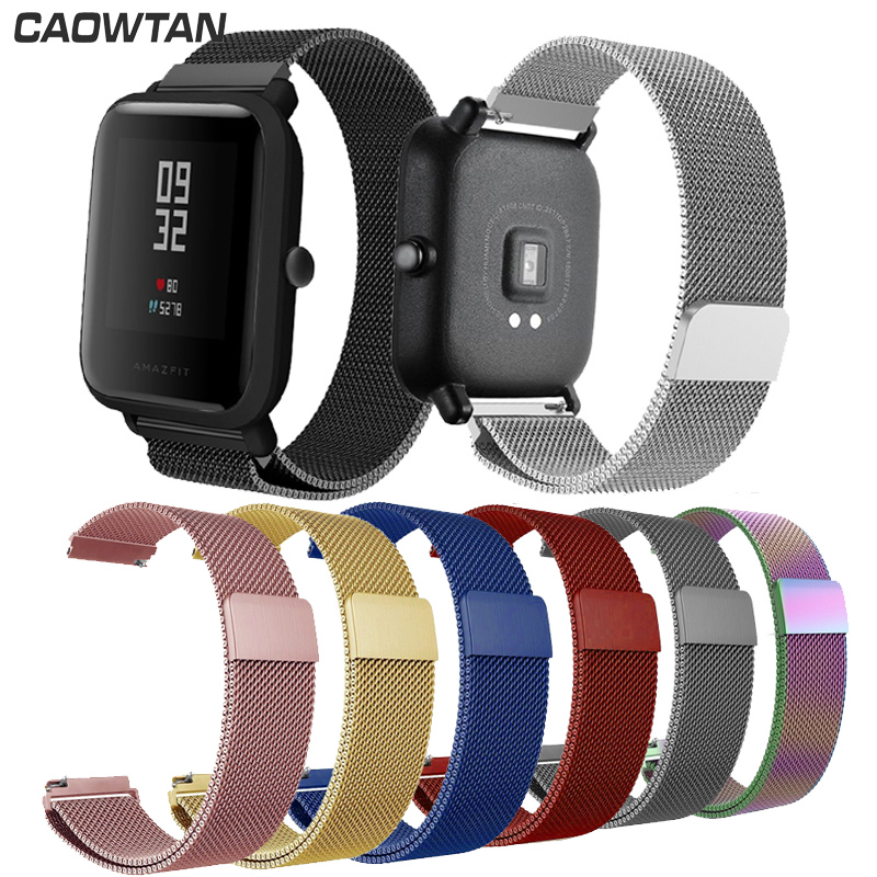 Watch Strap For Amazfit  Bip Band Xiaomi Huami Strap 20mm 22mm Band Milanese Stainless Steel Band Silver Bands Strap Band