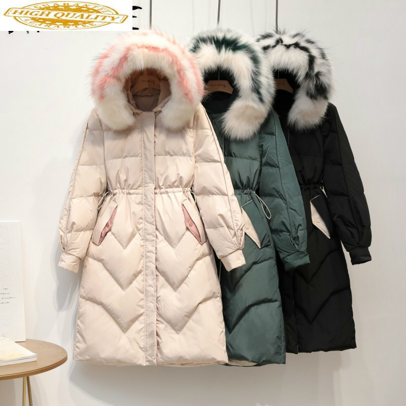 Winter Coat Women Fox Fur Collar Down Coat 90% White Duck Down Jacket Women Puffer Jacket Warm Parka Casaco 1931 YY1419
